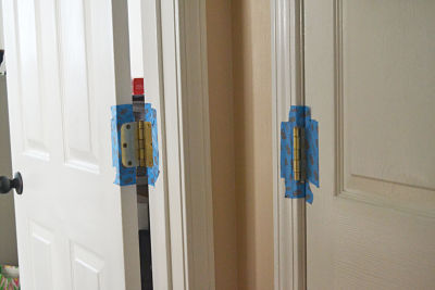 tape brass hinge to paint