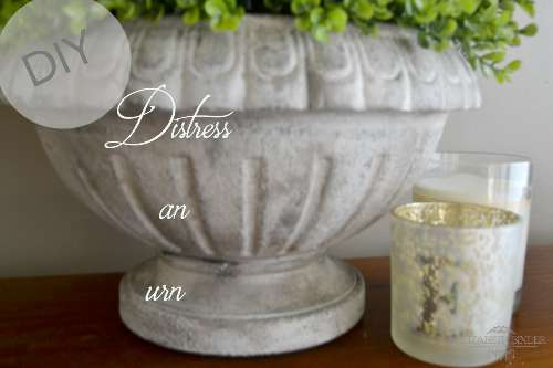 Use chalk paint to give your dark urn that vintage feel