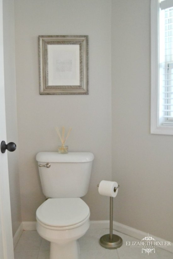Behr Cotton Grey Powder Room Makeover