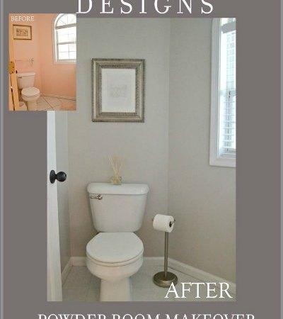 Behr Cotton Grey Powder Room Makeover