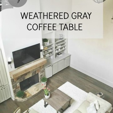 Sherwin williams chestnut and minwax classic gray give this coffee table that rustic Restoration Hardware feel