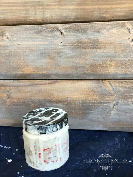 Dixie Belle Chalk paint in Fluff on Oak Stain