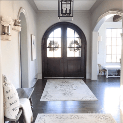 sherwin williams , colonnade gray , arch doors , arch entry , grey wash floors, hardwood, sugarboo, rugs usa , vintage rug