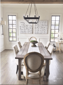 restoration hardware chairs , diy farmhouse table , chandelier , sugarboo art