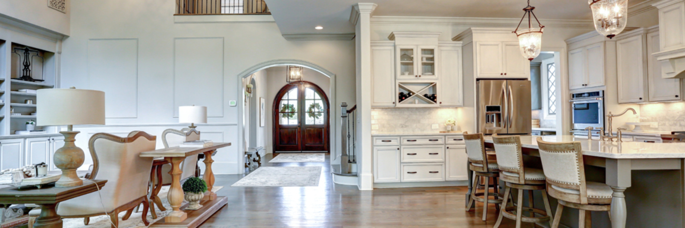 french-tudor-kitchen-and arched-foyer