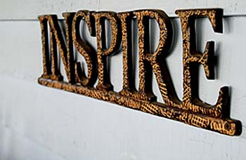 """""""INSPIRE"""" sign, from extreme perspective"""