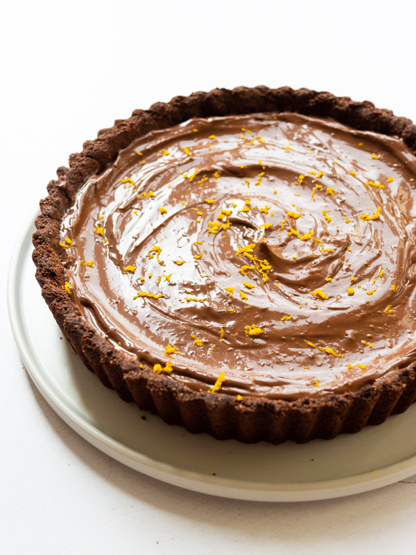 Vegan Chocolate Orange Tart on a plate