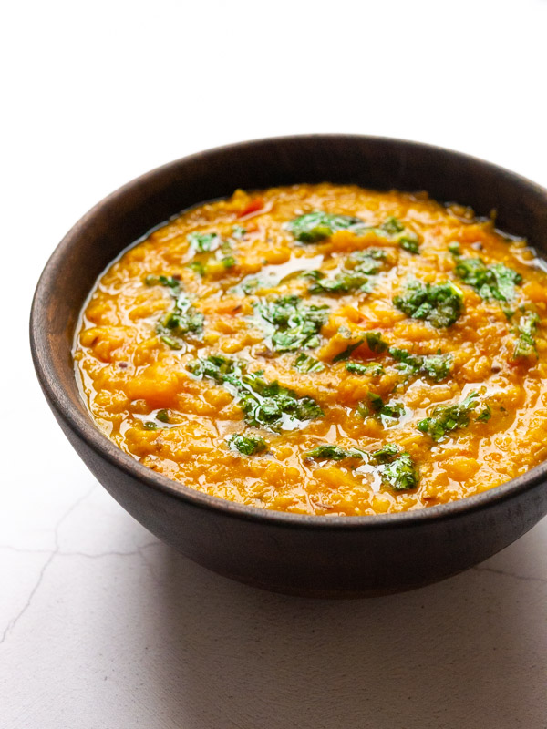 butternut squash tadka dal in a bowl