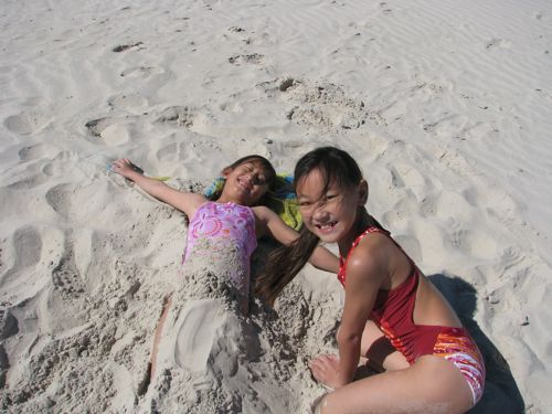 the next best thing is to bury your sister in the sand.