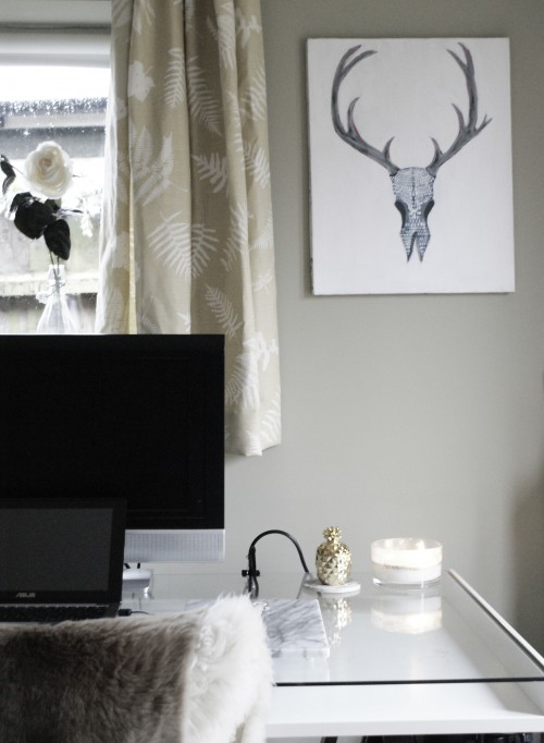 office, studio, desk, ikea, home, living, style, interior design, interiors, architecture, wood, fur, books, studying, working, working from home, deer, screenprint, art