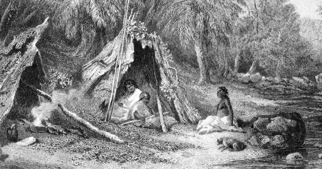 19th century engraving of an Aboriginal humpy or gunyah.