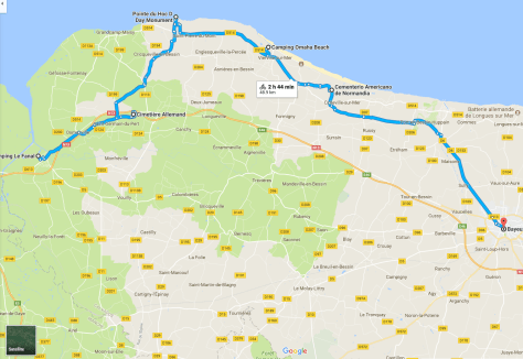 Map showing cycling route described in this post