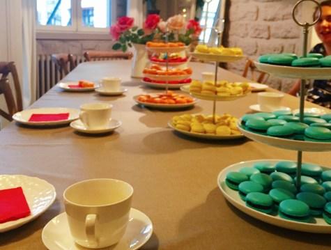 Tea with our freshly made macarons