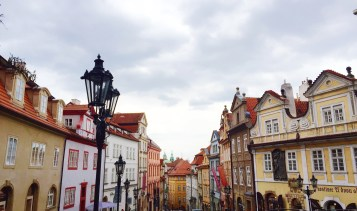 Walking down a street in Prague