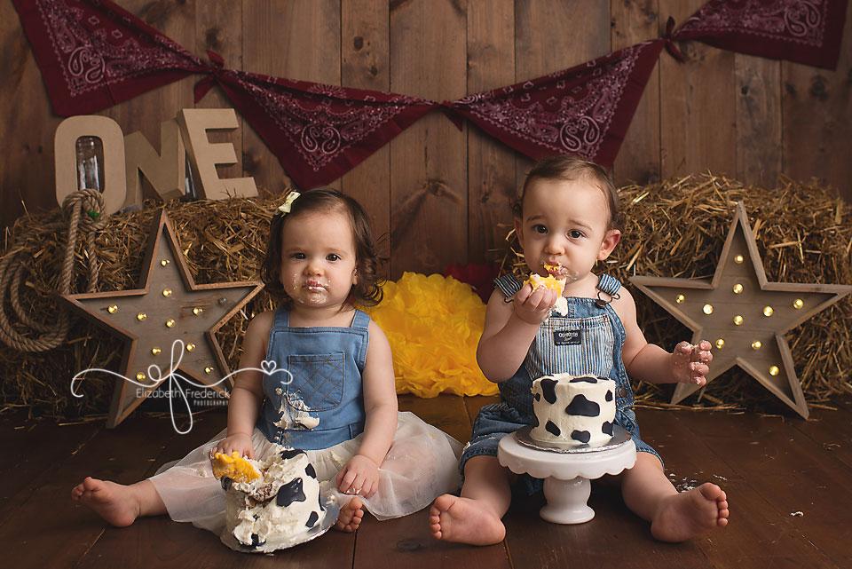 Farm Themed Smash Cake Photography Session   Twin Smash Cake Session   Farm First Birthday Idea   Smash Cake Photography Ideas   CT Smash Cake Photographer ELizabeth Frederick Photography www.elizabethfrederickphotography.com