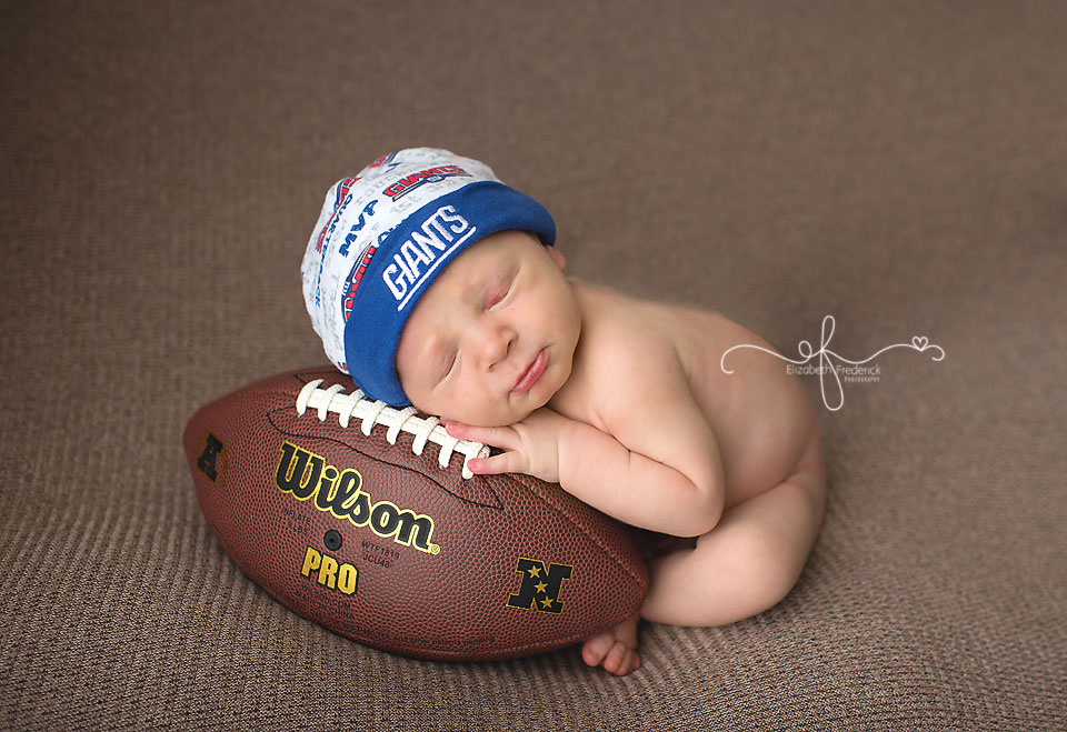 Football Newborn | Giants Newborn Photography Session | CT Newborn Photographer Elizabeth Frederick Photography