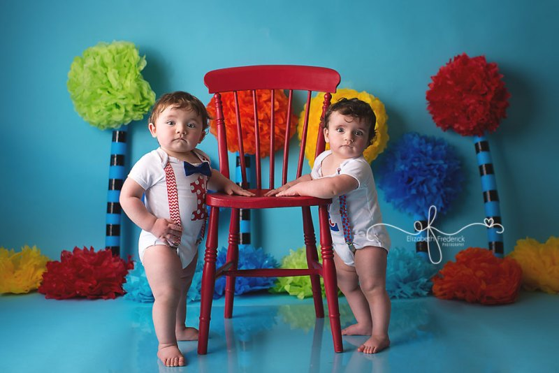 Twin Smash cake Photography Session. Dr Suess Smash cake Session | CT Smash Cake Photographer Elizabeth Frederick Photography