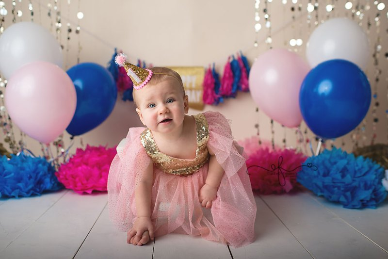 Pink, Blue, & Gold First Birthday Smash Cake Photography Session | West haven, CT Smash Cake Photographer