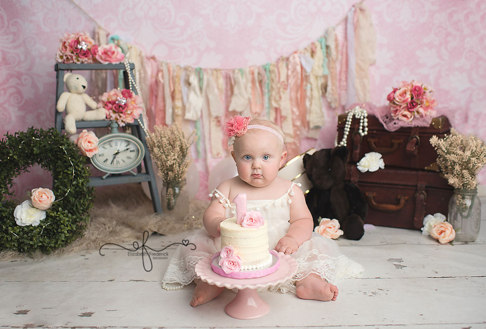 Vintage Smash Cake Photography session | CT SMash cake Photographer Elizabeth Frederick Photography