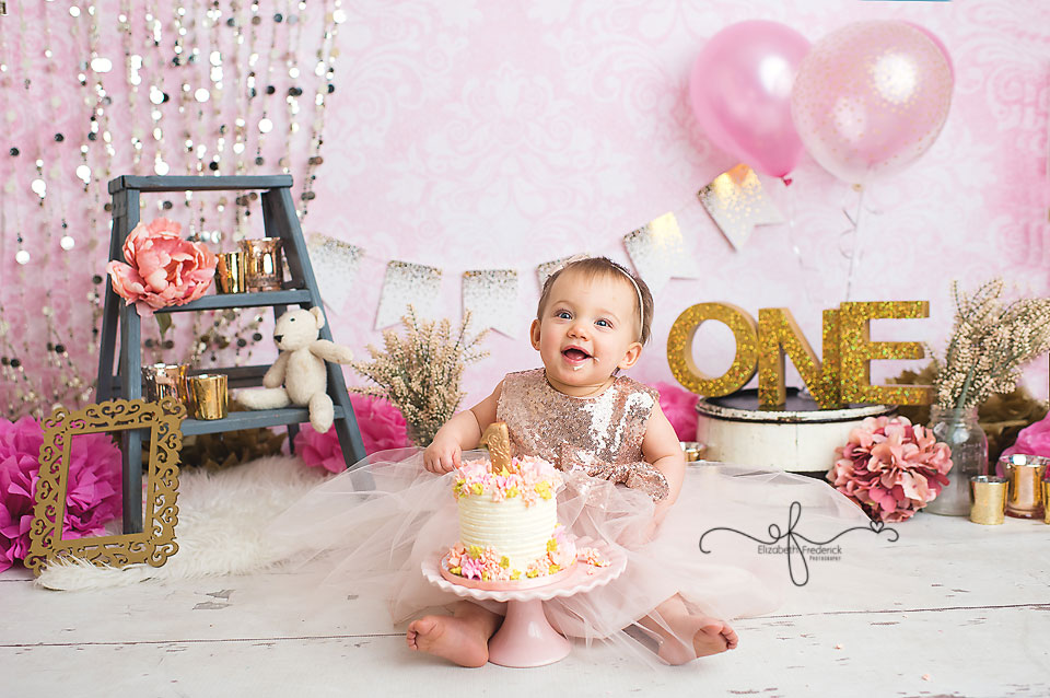 Pink & Gold First Birthday Smash Cake Photography Session CT Smash Cake Photographer Elizabeth Frederick