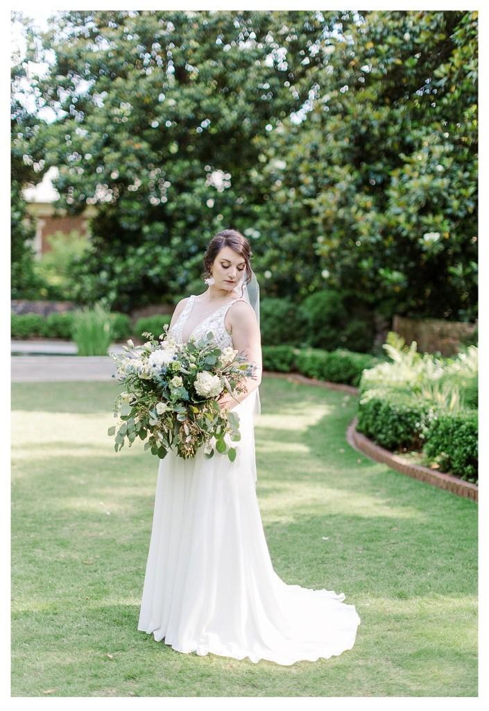 Full Bridal Portrait with Bride looking over shoulder