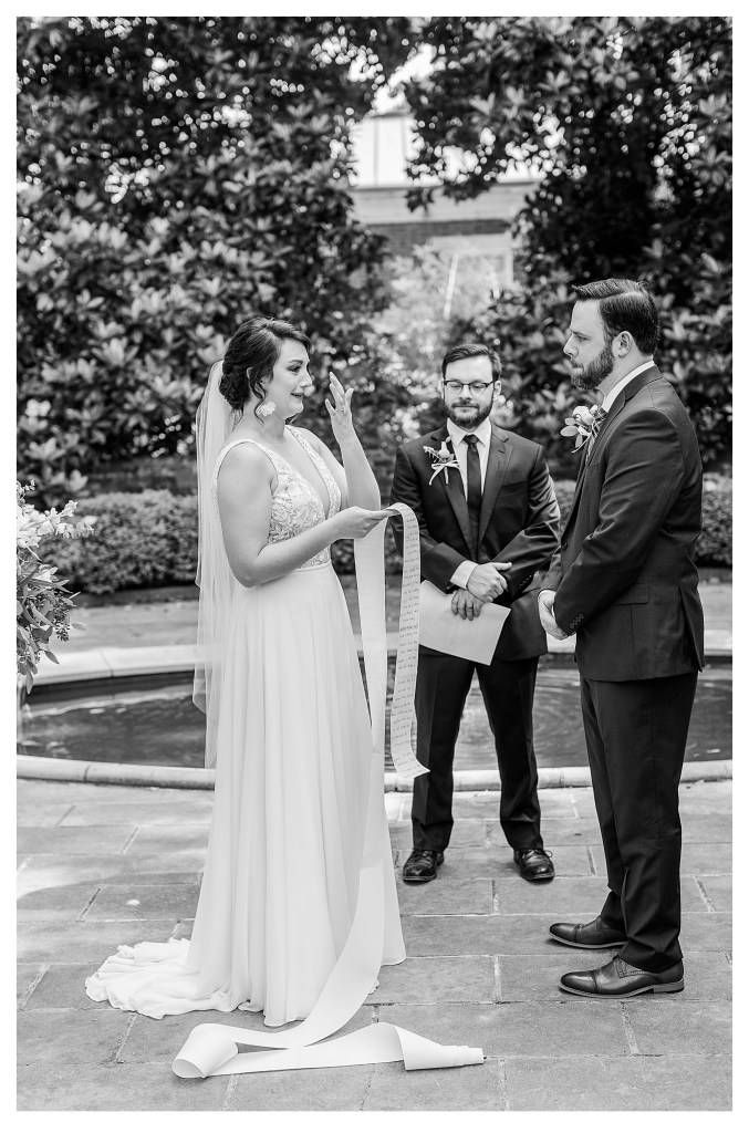 Black and White image of Bride crying while giving vows