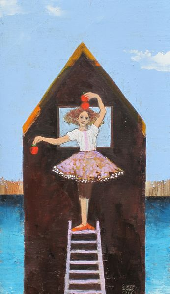 Defying Gravity cover created by Sheep Jones depicting a girl on a latter