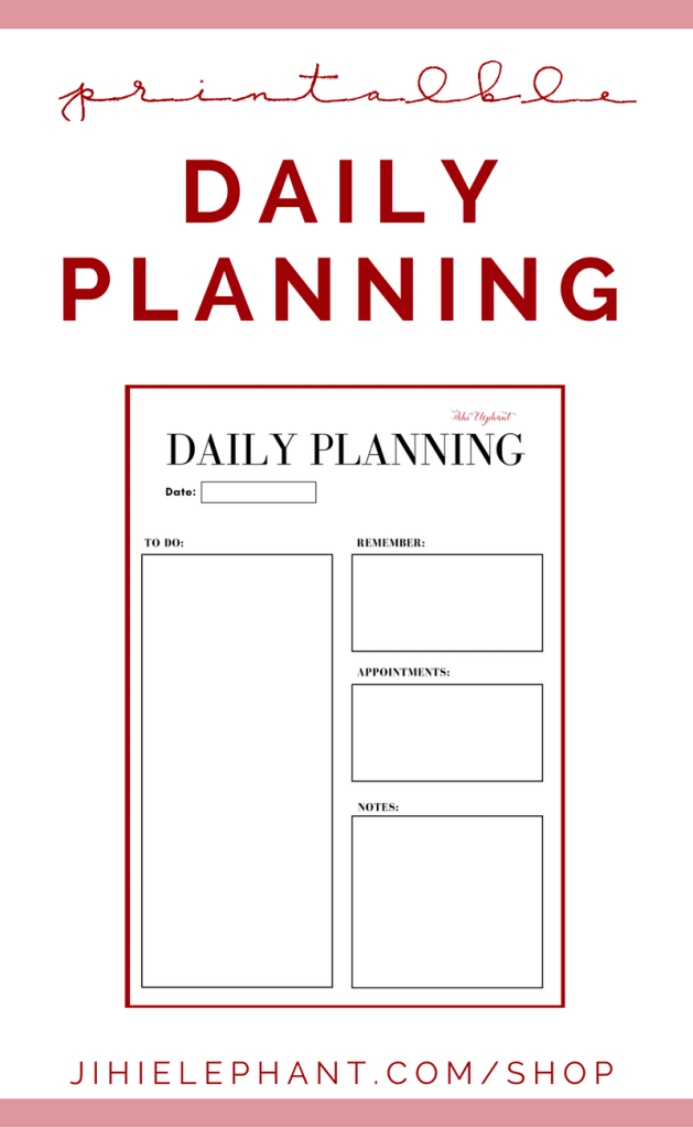 Printable Daily Planning Page