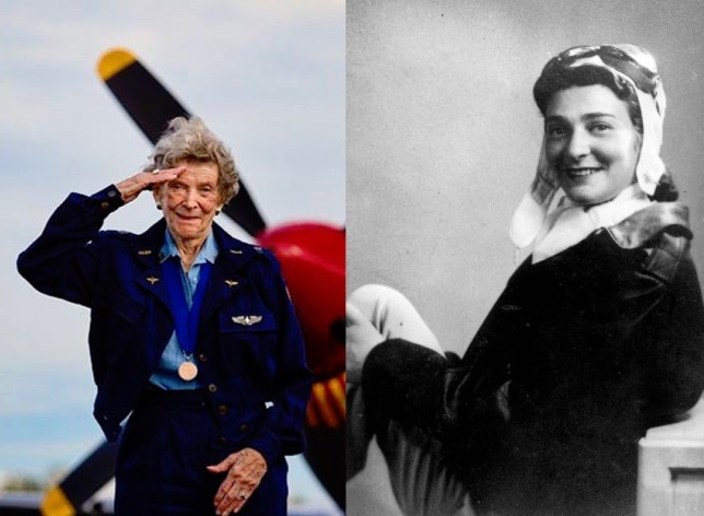 "Former WASP Bernice ""Bee"" Haydu: present day and 1944. Courtesy of Bee Haydu"