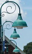 Old lamps at the Leura train station.