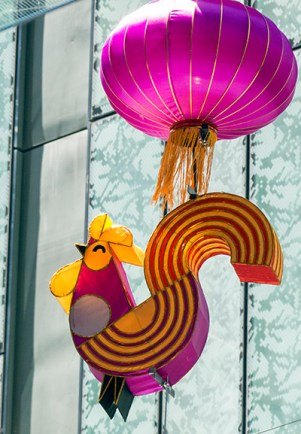 Rooster lantern - as pretty during the day as the night