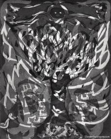 """Totem Phase 5"" 2011. Drypoint, Etching, Aquatint"