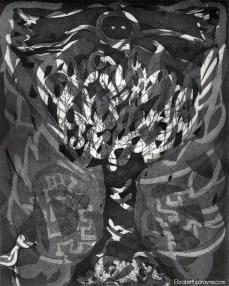 """Totem Phase 6"" 2011. Drypoint, Etching, Aquatint"