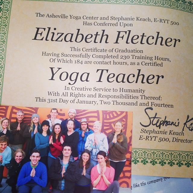 My yoga teacher certification!