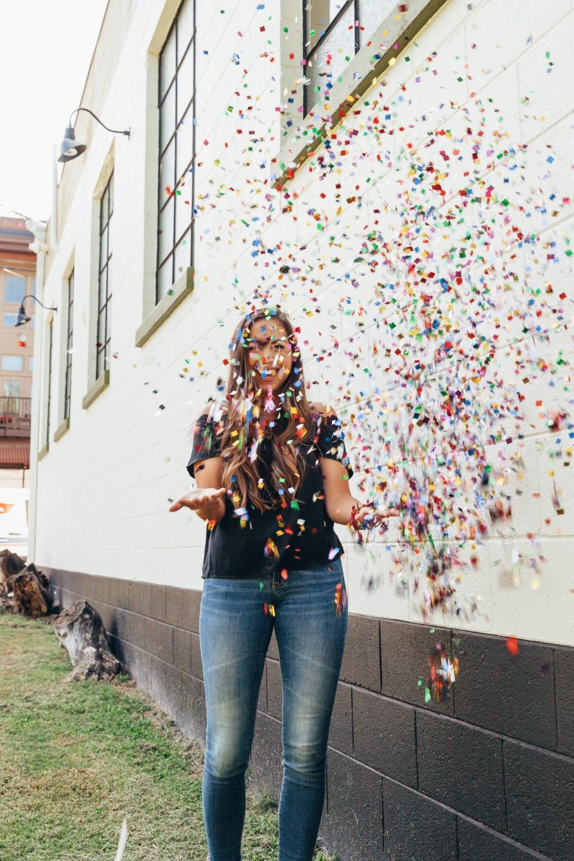 Throwing Confetti Photo Shoot