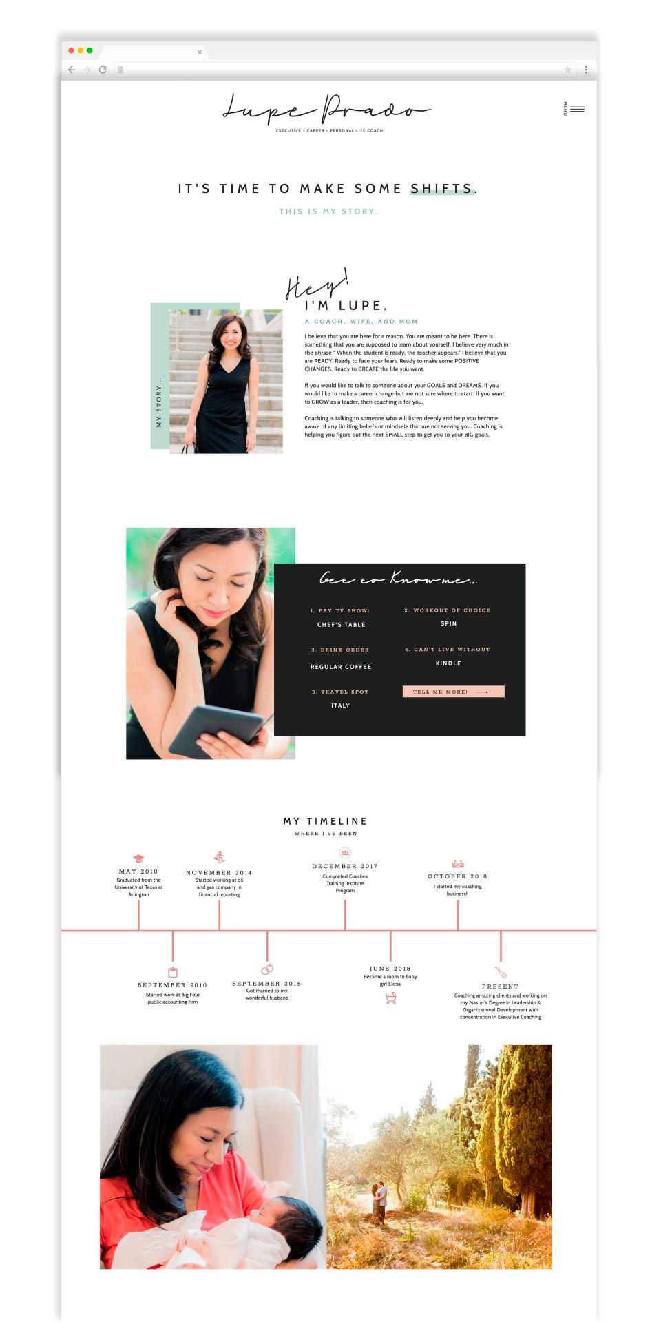Beautiful about page example for life coaches and personal brand based businesses.