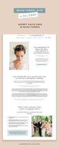 Showit sales page template for photographers