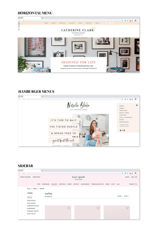 Three different website menu styles: horizontal, hamburger, and sidebar.