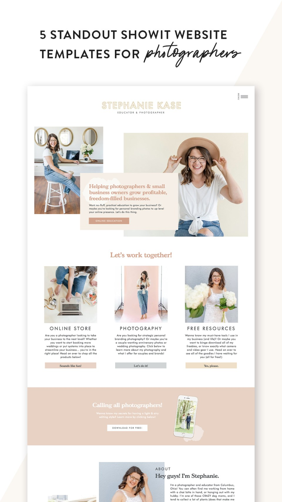 Check out these 5 best Showit website templates for photographers designed by Elizabeth McCravy.