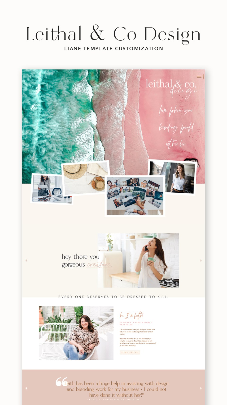 Check out Leithal & Co Design's website customized with the Liane template from EM Shop.