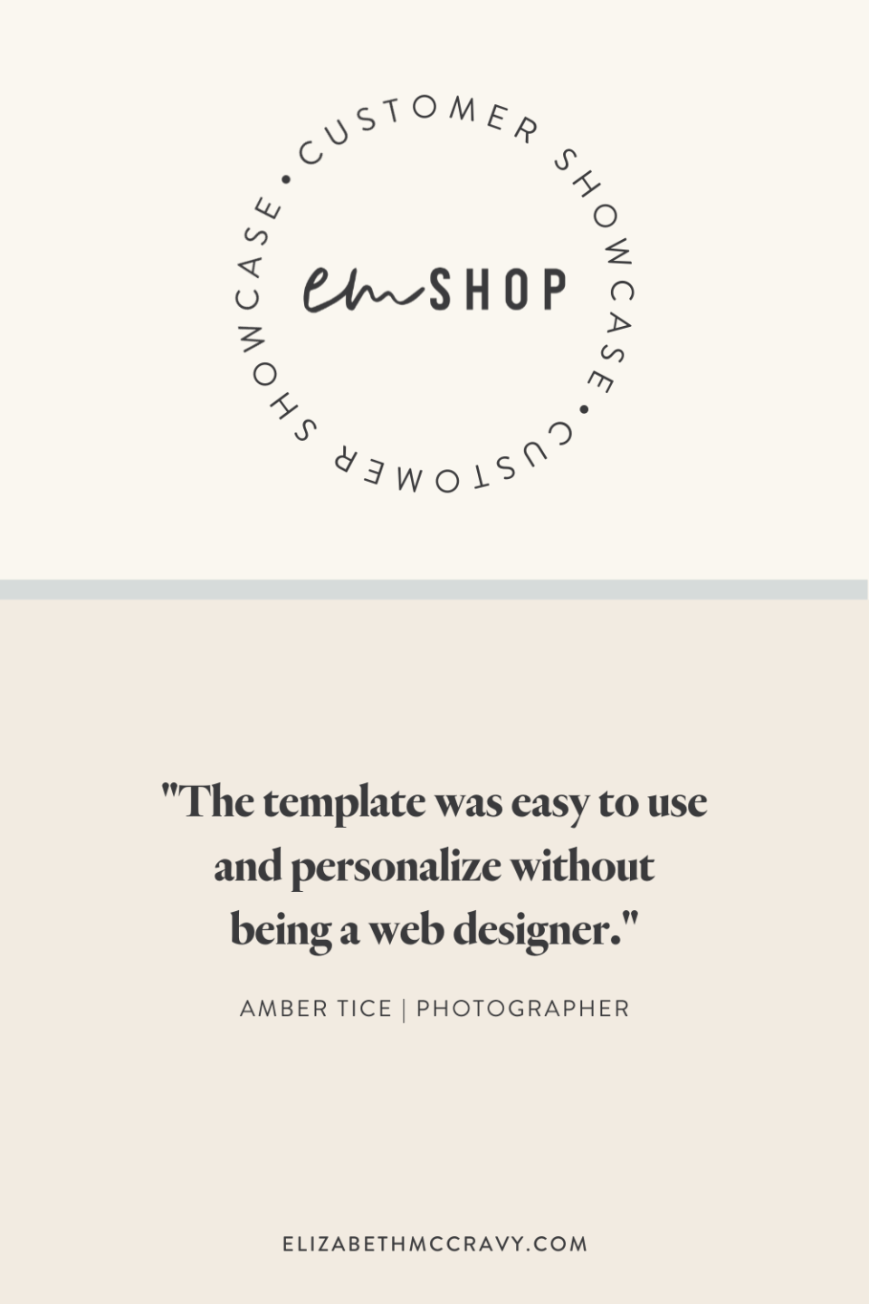 """""""The template was so wasy to use and personalize without being a designer!"""" - Amber Tice"""