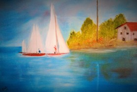 Sailing by the Old Inn-oil on canvas