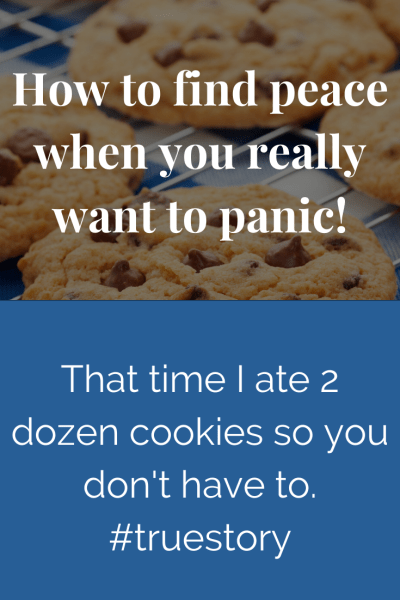 How to find peace when you really want to panic (That time I ate 2 dozen cookies so you don't have to.) #truestory