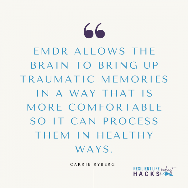 EMDR allows the brain to bring up traumatic memories in a way that is more comfortable so it can process them in healthy ways.