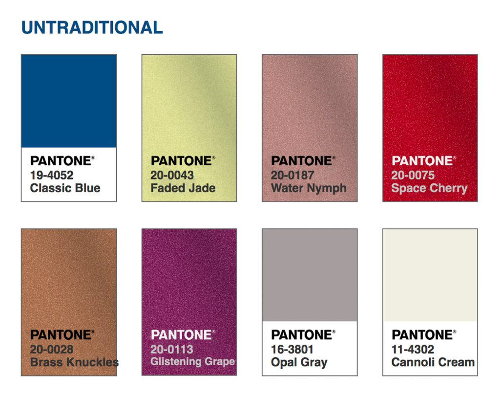 Pantone Colour Palette Untraditional