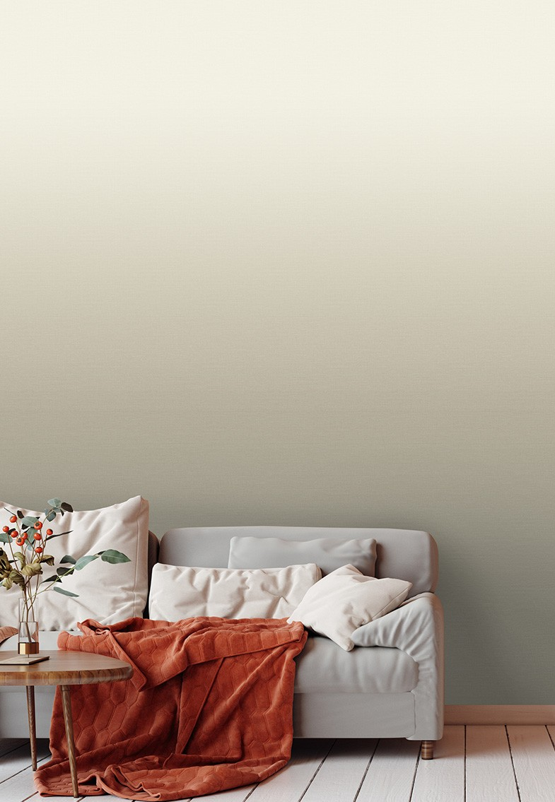 Horizon in the colourway off white with a sofa and orange red rust throw