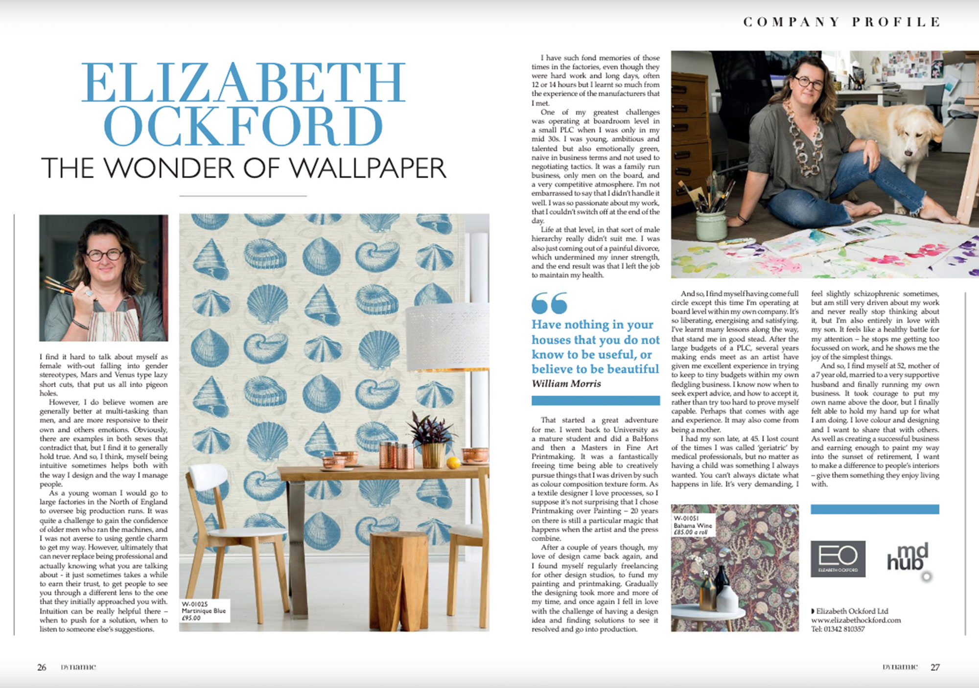 A press release from Dynamic Magazine on Elizabeth Ockford called the wonder of wallpaper with images of Elizabeth Ockford and her dog alongside her wallpaper designs.