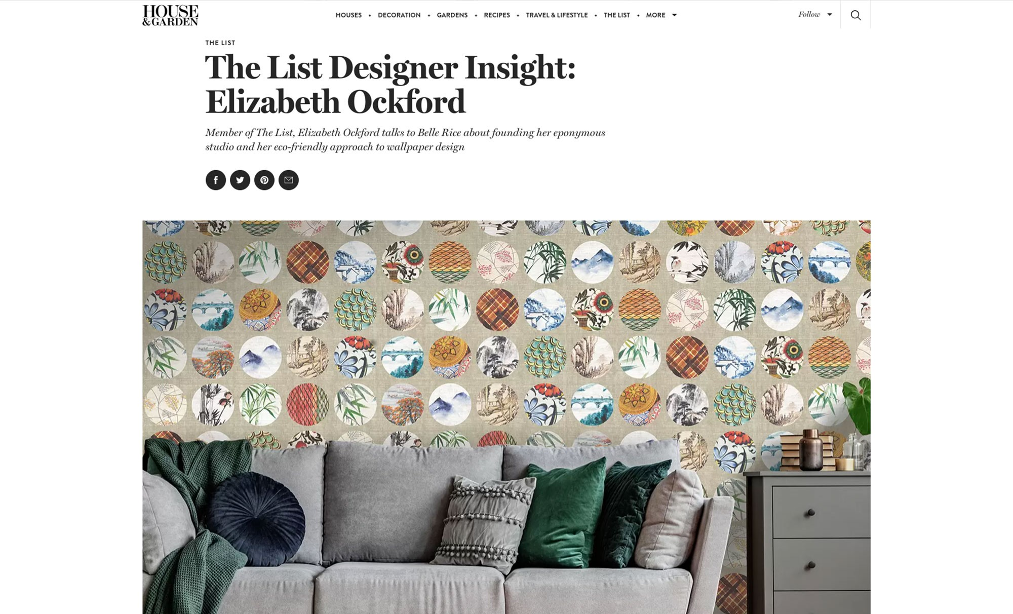 A press release from House and Garden Magazine called The List designer insight: Elizabeth Ockford showing an interview with Elizabeth with an image of the pearl river design wallpaper