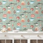 W-01013 Kitts fish wallpaper in the colourway aqua