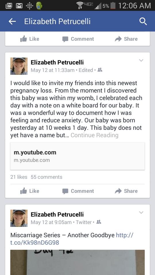 Facebook Miscarriage Announcement